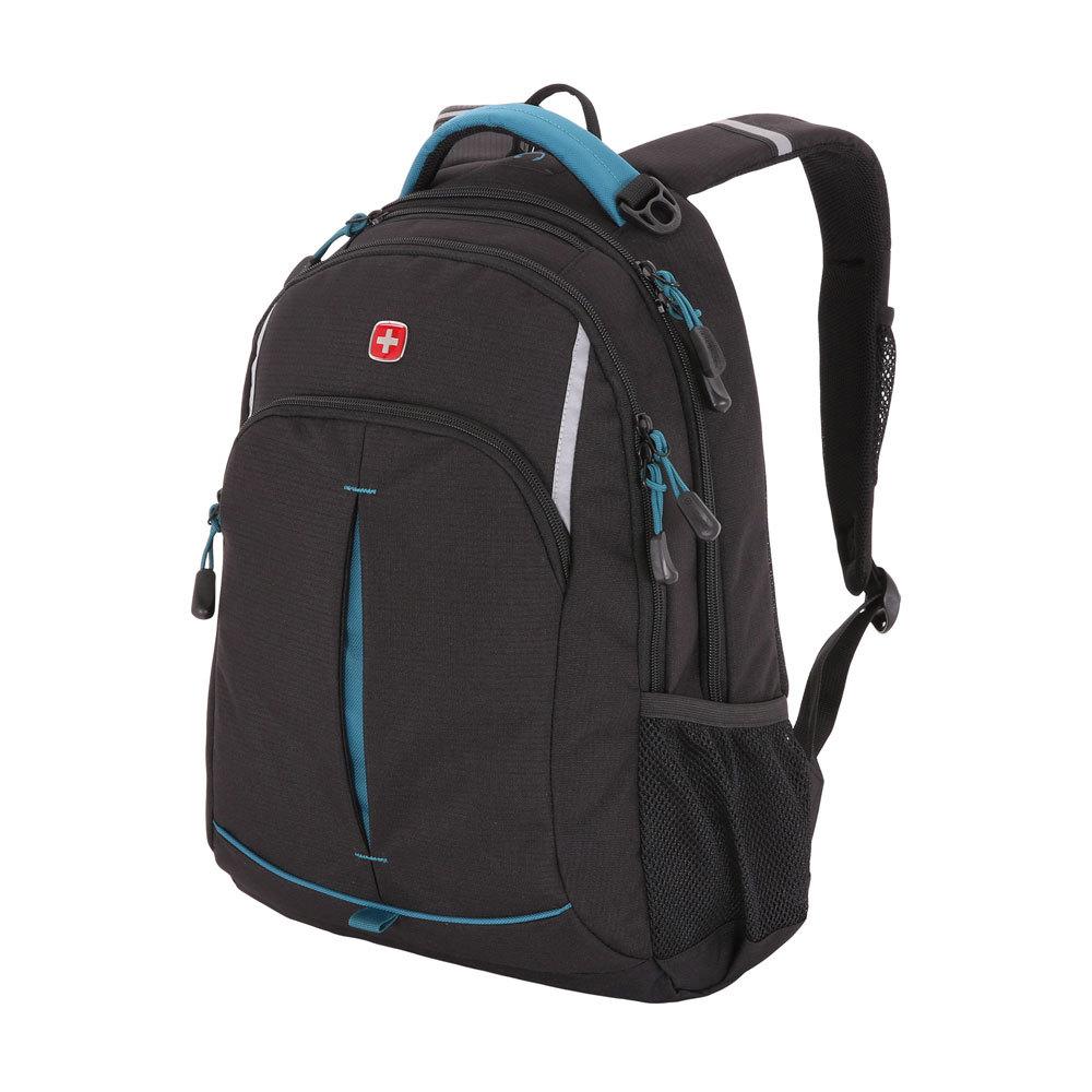 Рюкзак WENGER со светоотражающими элементами, цвет чёрный/бирюзовый, 22 л., 46х32х15 см., 2 отделения (3165206408-2)