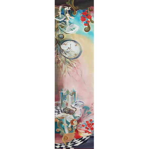 Шелковый шарф батик Алиса в стране чудес С-57