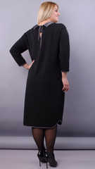 Орнелла. Стильное платье для больших размеров. Черный.