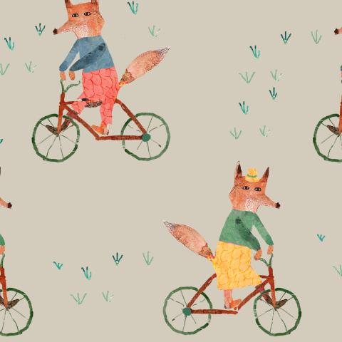 лиса и велосипед светлый/ fox light