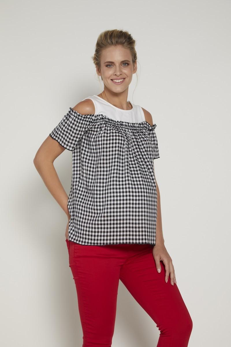 Блузка для беременных 09348 белый/черный/клетка