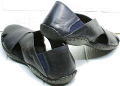 Синие туфли босоножки мужские кожаные Luciano Bellini 76389 Blue.