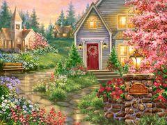 Картина раскраска по номерам 40x50 Уютный дом