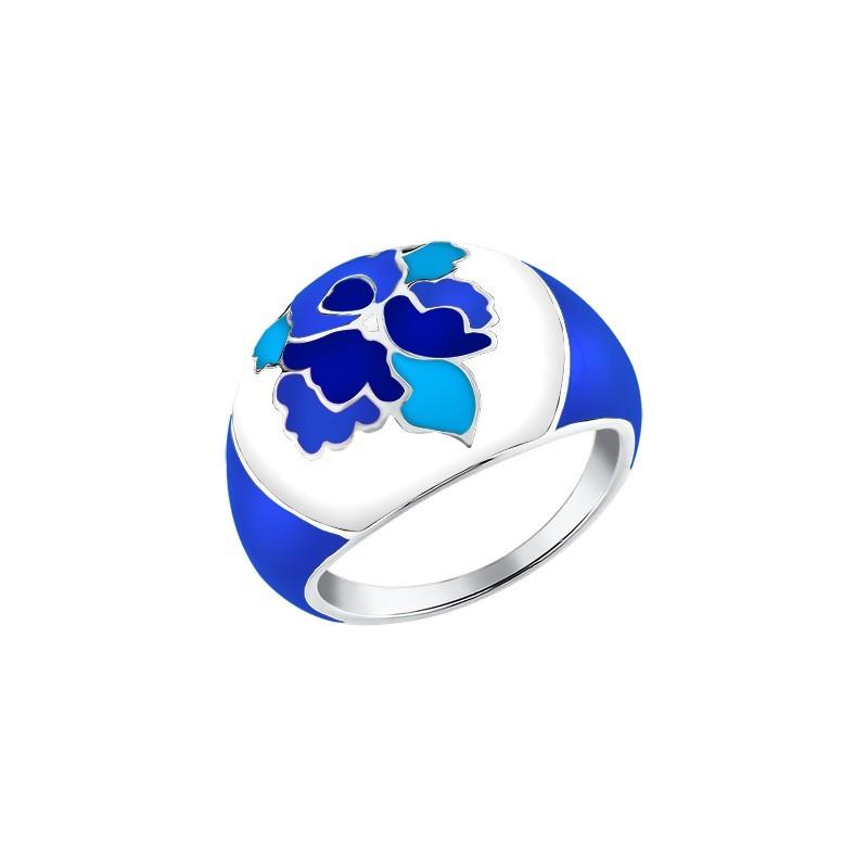Серебряное кольцо с эмалью в стиле Гжельской росписи