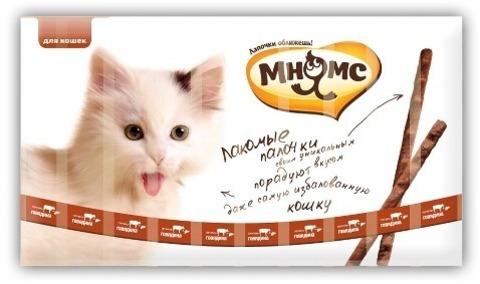 Мнямс лакомые палочки для кошек с говядиной и печенью