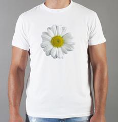 Футболка с принтом Цветы (Ромашки) белая 007