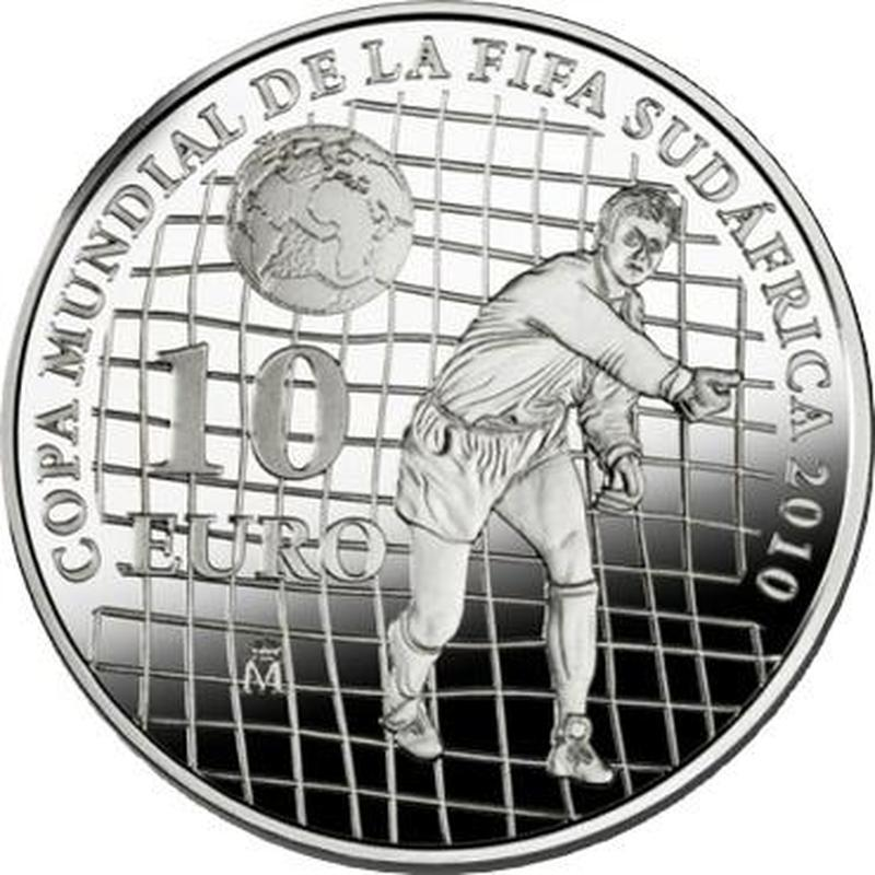 10 евро Чемпионат мира по футболу ЮАР 2010 г. Испания 2009 г. Proof