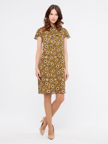 Фото платье с коротким рукавом, воротом под горло и цветочным рисунком - Платье З902-337 (1)