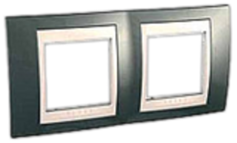 Рамка на 2 поста. Цвет Шампань/Белый. Schneider electric Unica Хамелеон. MGU6.004.824