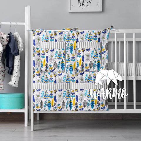 органайзер для ліжечка з голубим пір'ям фото