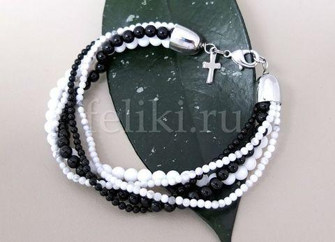 браслет из чёрных и белых камней - агат, фото