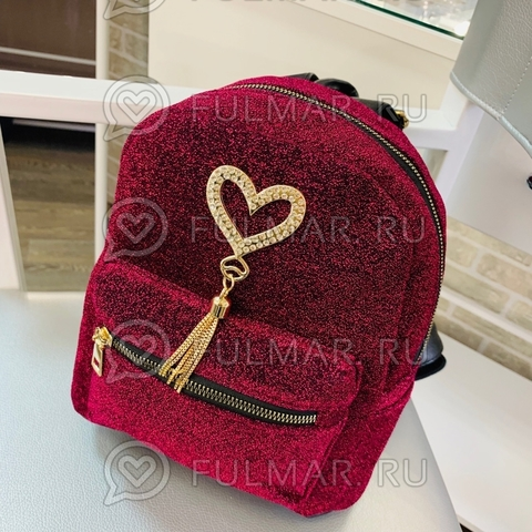 Рюкзак для девочки Блестящий Вишнёвый 25х20х12 см