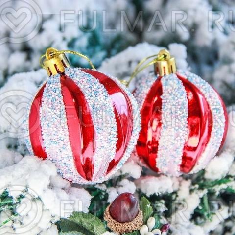Декорированные красные шары на ёлку d-5,5 см, 6 штук