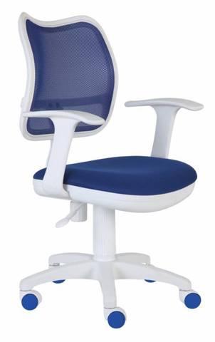 спинка сетка синий сиденье синий TW-10 колеса белый/синий (пластик белый)