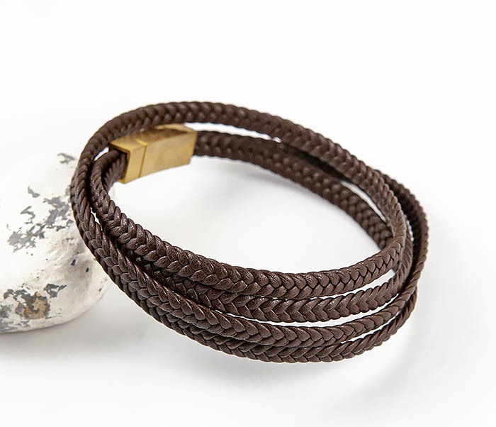 BM561-2 Мужской браслет из плетеного шнура коричневого цвета