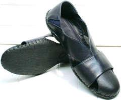 Синие мокасины сандалии мужские с закрытым носком Luciano Bellini 76389 Blue.