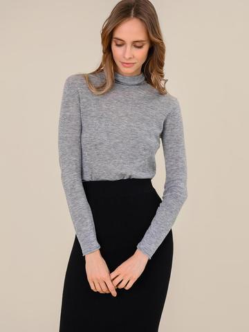 Женский свитер серый меланж цвета из 100% шерсти - фото 2