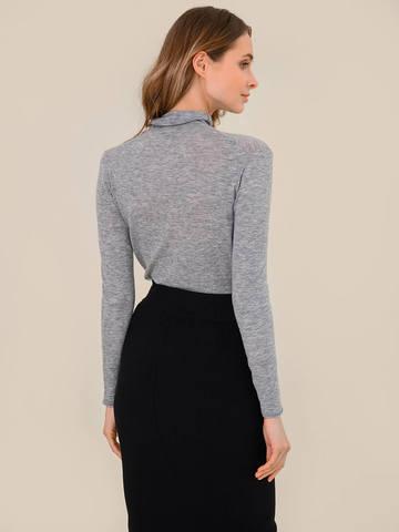 Женский свитер серый меланж цвета из 100% шерсти - фото 4