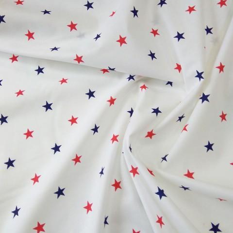 Ткань хлопковая красно-синие звезды на белом