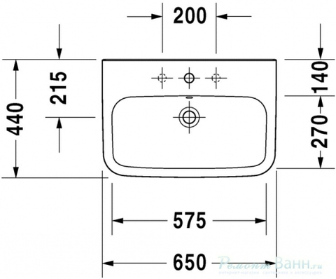 Раковина Duravit DuraStyle 65x44см.  2319650000 схема
