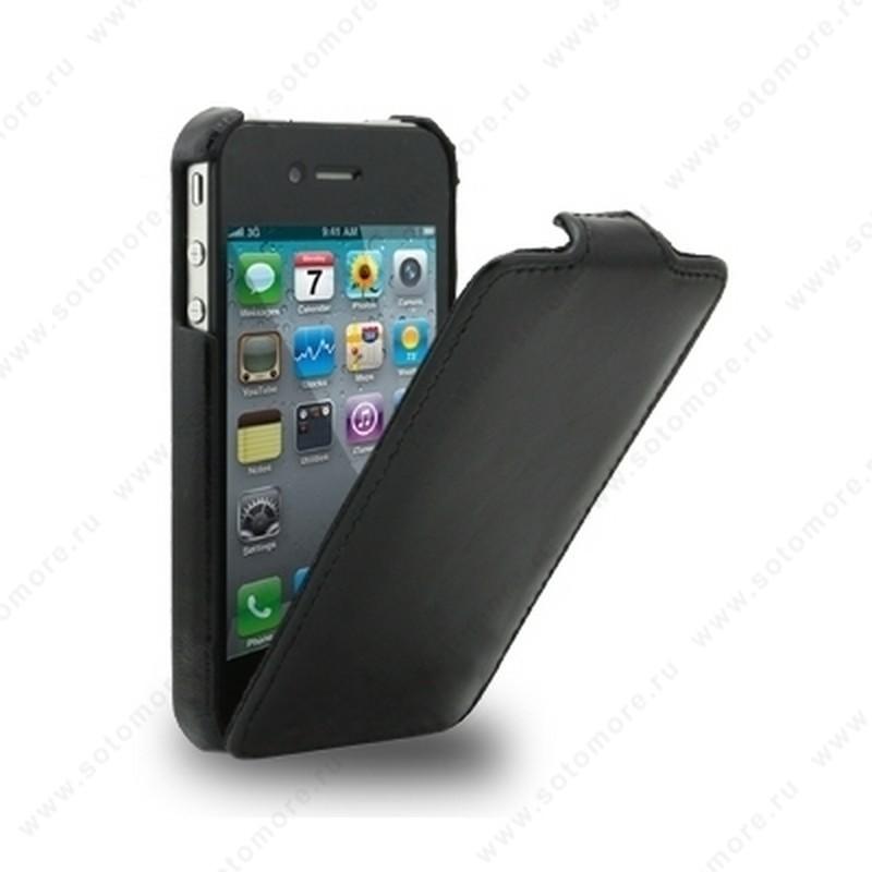 Чехол-флип Melkco для iPhone 4s/ 4 Leather Case Jacka Type (Vintage Black)