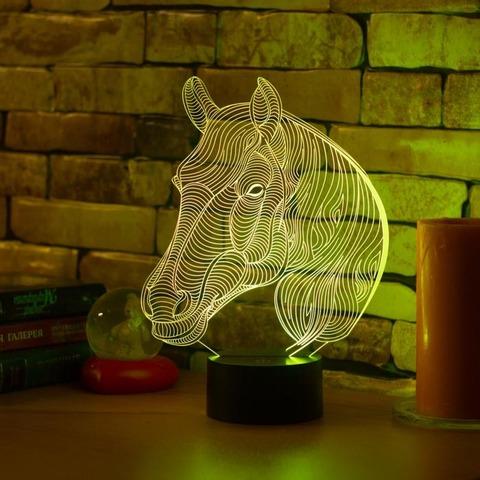 3D ночник Лошадь с гривой