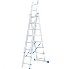 Лестница, 3 х 8 ступеней, алюминиевая, трехсекционная, Россия, Сибртех