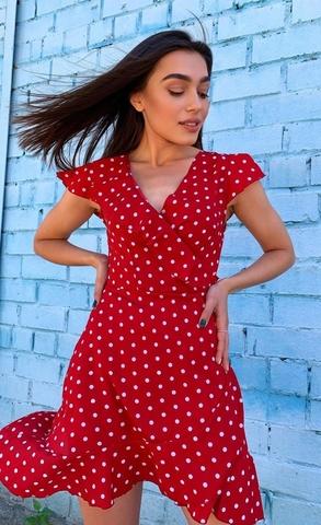 Платье на запах в горох, красный