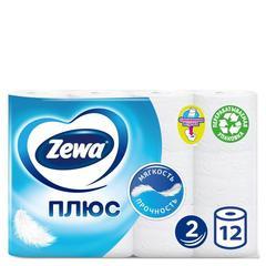 Бумага туалетная Zewa Плюс 2-слойная белая (12 рулонов в упаковке)