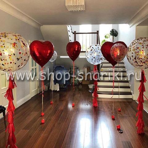 Оформление шарами на 14 февраля
