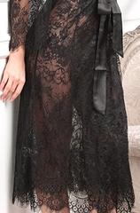 Длинный кружевной халат Chanell черный