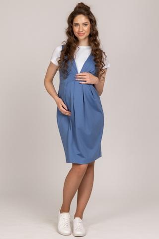 Сарафан для беременных 10614 голубой