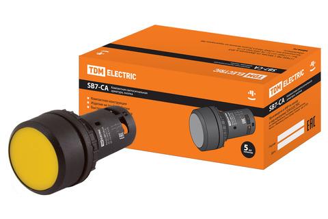 Кнопка с фиксацией SB7-CAL55 d22мм 1з+1р желтая TDM