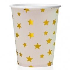 Стаканы (250 мл) Золотые звезды, Белый, 6 шт.
