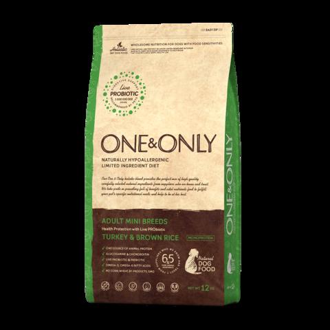 One&Only Turkey & Rice Adult Mini Breeds Сухой корм для взрослых собак мелких пород Индейка с рисом низкозерновой