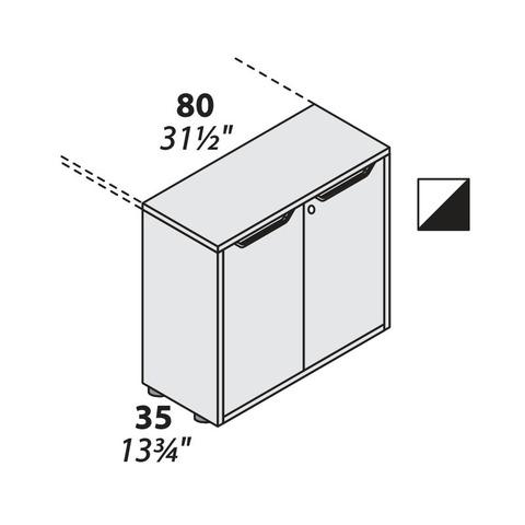 Шкаф опорный офисный 2 двери (800 мм) LOGIC