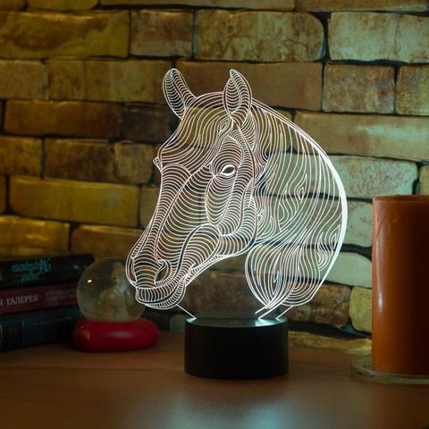 3D лампа Лошадь с гривой