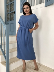 Ариадна. Однотонное красивое платье больших размеров. Синий