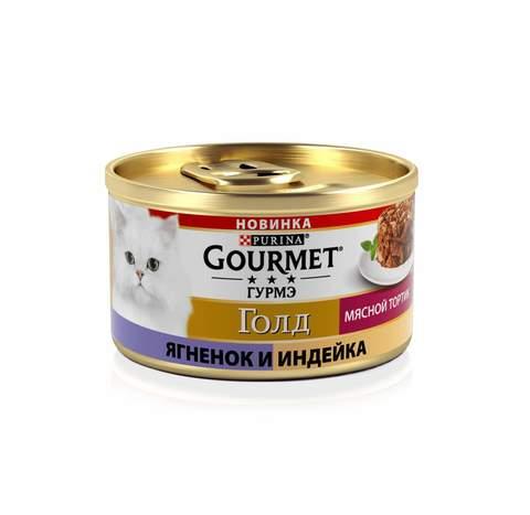 Gourmet Gold Мясной тортик консервы для кошек (индейка и ягненок) 85г