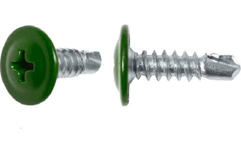 Саморез с прессшайбой со сверлом 4,2х16 (RAL6002(Зеленая листва))