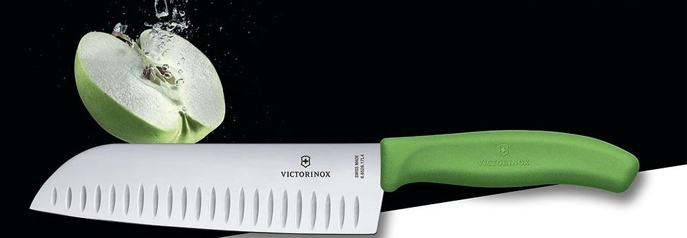 Нож Victorinox Santoku, зелёный, 17 см (6.8526.17L4B) - Wenger-Victorinox.Ru