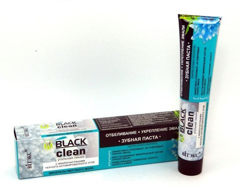 Витэкс Зубные пасты Black Clean Зубная паста Отбеливание + Укрепление эмали с микрочастицами черного активированного угля и минералами Мертвого моря 85 г
