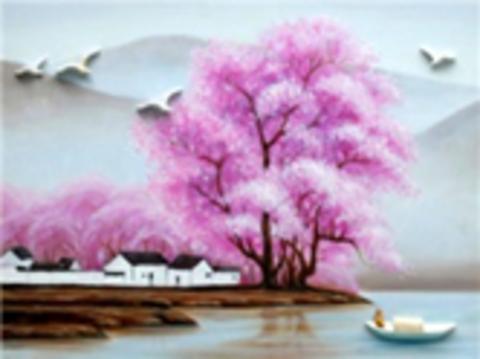 Алмазная Мозаика 40x50 Лодка у берега с цветущей сакурой