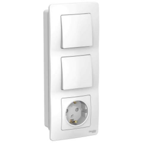 Блок: Розетка з/к шт 16А, 250В + Выключатель 1-кл. + Выключатель 1-кл. Цвет Белый. Schneider Electric Blanca. BLNBS101101