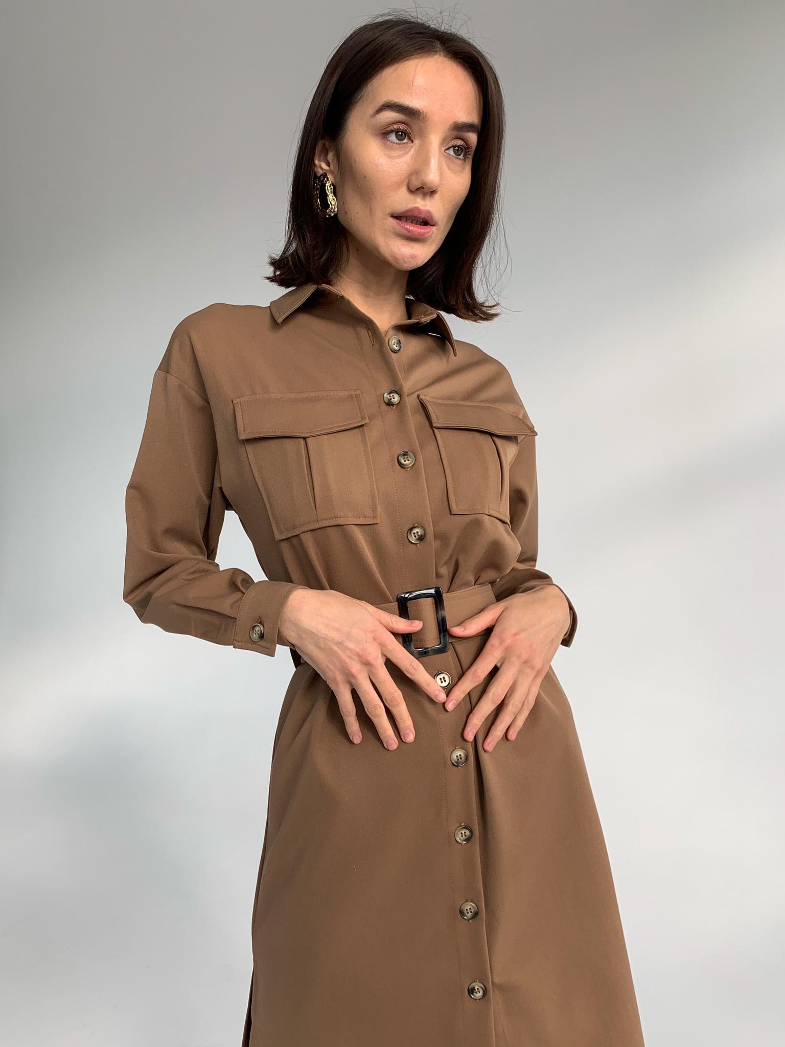 Платье-рубашка миди с поясом (коричневый)