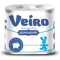 Бумага туалетная Veiro Домашняя 2-слойная белая (4 рулона в упаковке)