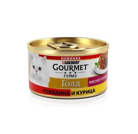 Gourmet Gold Мясной тортик консервы для кошек (курица и говядина) 85г