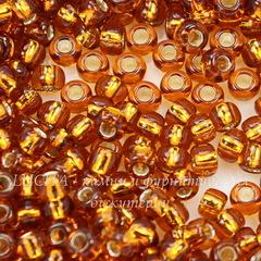 17090 Бисер 8/0 Preciosa прозрачный топаз с серебряным центром