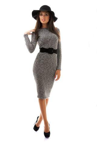Вязанное платье-футляр, миди, серое 1