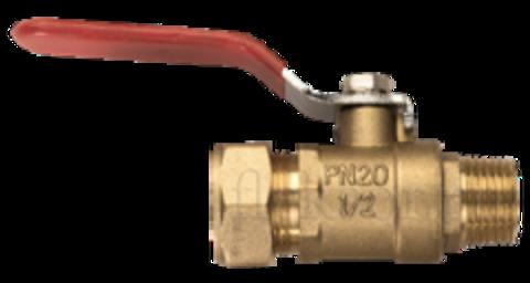 NHV 20*3/4 FLEXY Соединение кран шаровый  наружняя резьба (папа)- труба